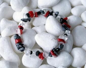 Simple  Stone Chips Bracelet Black Onyx Clear Quartz Red Coral Black Glass Beads Jewellery