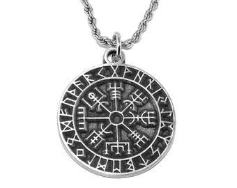 Viking Pendant - Vegvísir Icelandic magical stave sigil (Rune Compass) Necklace with Chain