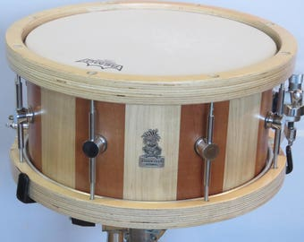"13""X6.5"" Stave Snare Drum, Maple Snare Drum, Mahogany Snare Drum, Wooden Birch Hoops, Handmade Snare Drum, Stave Drums, Custom Snare Drums"
