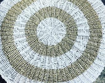 Sisal rug 1.2 meter diameter in white and natural