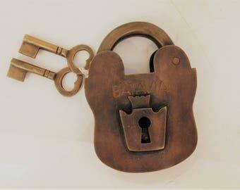 Antique Gold Brass Padlock