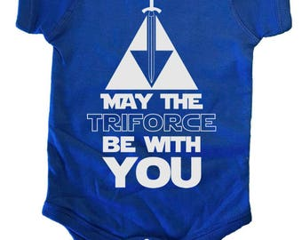 May The Triforce Be With You Zelda Baby One Piece by Brain Juice Tees