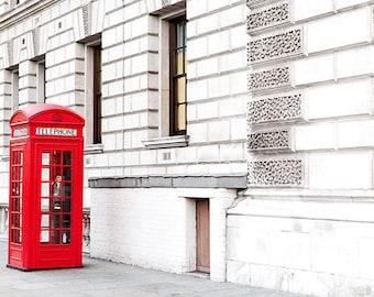 London Red Phone Box Wall Art, English Red Telephone Box Photos, London Street Photography, Romantic London Photography, London Photo Prints