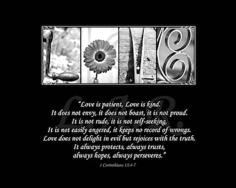 Love is patient, Love is kind...8x10in Letter Art Print, Alphabet Photography