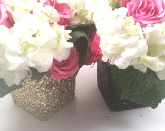 3 Black and Gold glitter vase centerpieces ready for any wedding, baby shower, Bridal shower or any special event