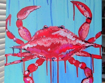 "12x12 - ""Drip Crab #1"" - Original Acrylic Painting by Bonnie Flaherty - CUTE - Square - Coastal Decor"