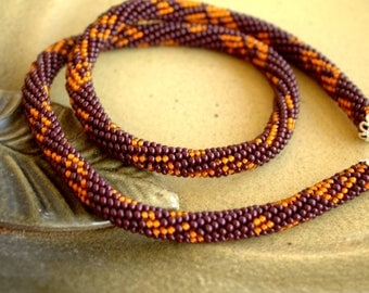Tourniquet on the neck, Bead Crochet, Seed Bead, Beadwork Jewelry, for Women, Elegant, Brown, Orange, Handmade, Gift, Жгут из бисера на шею.