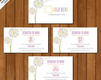 LLR Scratch Off Card, Scratch to Win, Home Office Approved, Dandelion, Printable Card, Marketing, Fashion Consultant Retailer 01