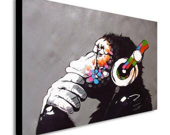 Banksy DJ Monkey Gorilla Chimp Canvas Wall Art Print
