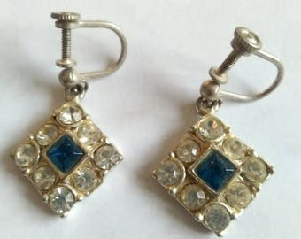 Vintage Faux Diamond And Faux Sapphire On White Metal Dangle Screw Back Earrings