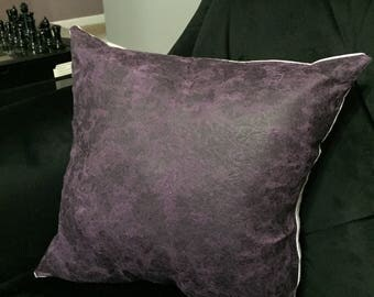 Purple Faux Leather Front Pillow