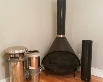 Free NYC / BOSTON DELIVERY Mid Century vintage atomic cone fireplace / wood stove