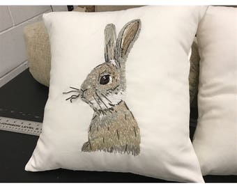 Hand embroidered rabbit cushion