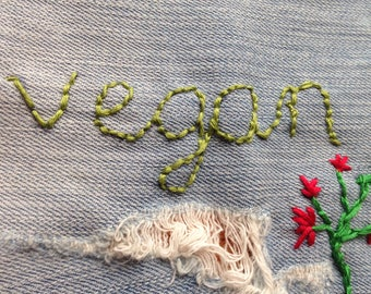 Vegan patch with flower/plant