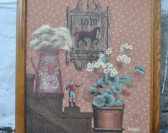 H Huntington folk art oil painting