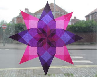 Kite paper window star, pink and purple