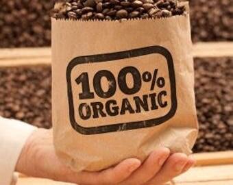 Freshly roasted organic fair trade coffee beans (Castle beach blend)