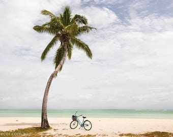 Beach Photography, Palm tree Photography, Travel Photography, Tropical Decor, Bike Photography