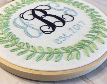 Wedding Monogram Hand Embroidered Hoop