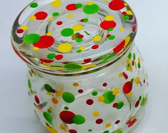Rasta (Red, Yellow and Green) Polka Dot Hand Painted Glass Jar with Gasket Lid- 75ml FREE SHIPPING
