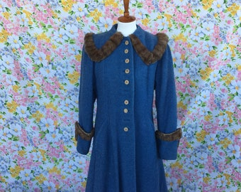 1940s/40s | plus size wool and mink princess coat |