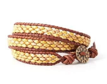 Rushing Creek 3-Wrap DIY Bracelet Kit with Button Closure - Yellow