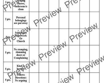 Behavior Modification Point Chart - 53pt