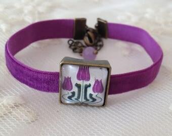 Bracelet purple velvet and canafeo Art-deco.