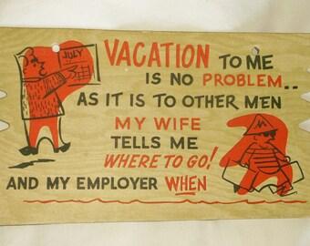 Large vintage Vacation Sign PostCard • Komic Kard