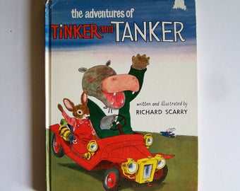 The Adventures of Tinker and Tanker by Richard Scarry - Children's Book - Friends, Hippo, Rabbit