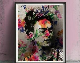 Frida Kahlo Floral Art Print or Canvas, Wall Art, Artwork, Painting, Gift
