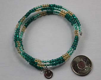 Turquoise and Gold Beaded Memory Wire Bracelet