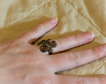 Bronze roses & leaves wire wrapped ring size 5