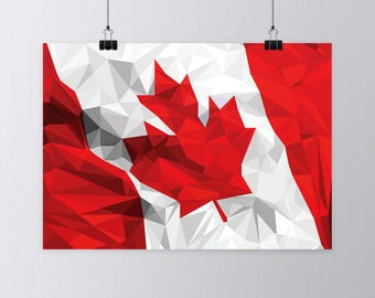 Canadian Flag Low Poly Art Print