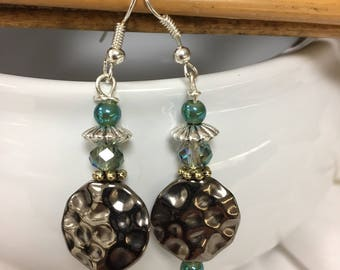 Antique silver gray and white beaded dangle earrings