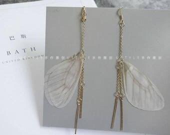 Butterfly Wing Earring, Golden Drop Earring, Valentine's day Earring
