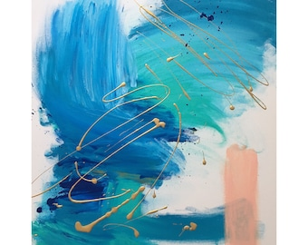 Summer Breeze abstract painting peach blue gold 24x30in