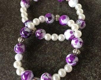 Pearls and purple/black marble beaded bracelet
