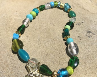 Mermaid anklet with sand dollar charm