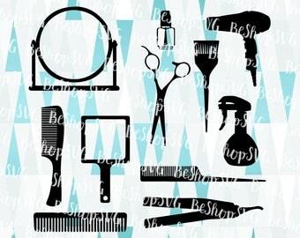 Hairdresser SVG, Hairdresser bundle SVG, Hairdryer SVG, Scissor Svg, Mirror Svg, Brush Svg, Instant download, Eps - Dxf - Png - Svg