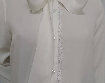 Shirt long sleeves white color cotton