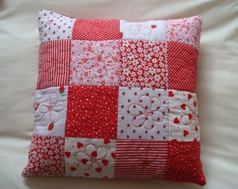 Cushion - quilted and embroidered patchwork