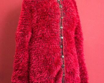 Vintage 80's Red and Black Handmade Cardigan Coat