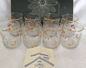 Vintage Set of 8 Libbey Drinking Barware Juice Glasses - Has Box