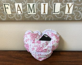 Comfy heart pillow with ice pak pocket