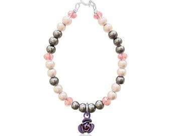 Baby Infant Toddler Purple White Pearl & Czech Crystal Handmade Jewelry Bracelet