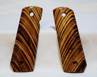 Full size 1911 Zebrawood Handmade Grips