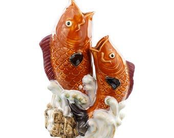 Leaping Fish Chinese Art Inspired Vase - Vase centerpiece, Fish centerpiece, Salmon vase, Oriental Vase, Oriental Centerpiece, Fish Vase