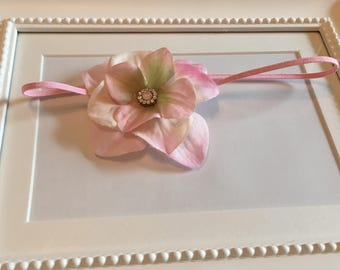 Delicate Pale Pink Flower Headband with Rhinestone Center