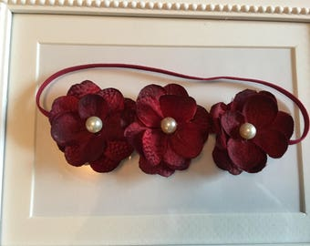 Vintage Deep Red 3 Flower Baby Headband